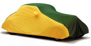 Weathershield multi-color cover, green and yellow car cover